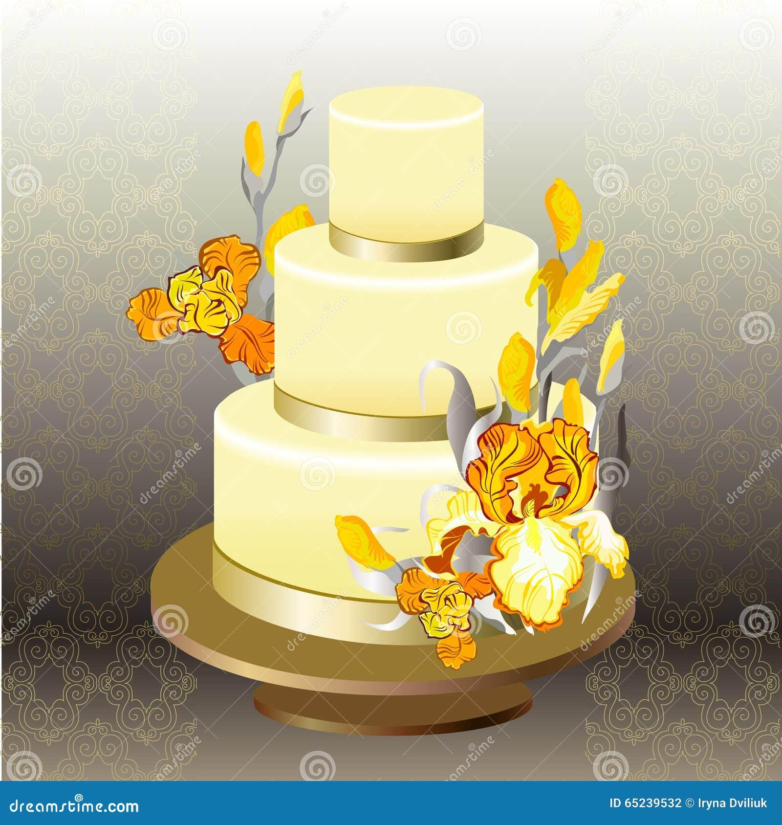 Wedding cake with yellow iris flower design stock vector wedding cake with yellow iris flower design mightylinksfo