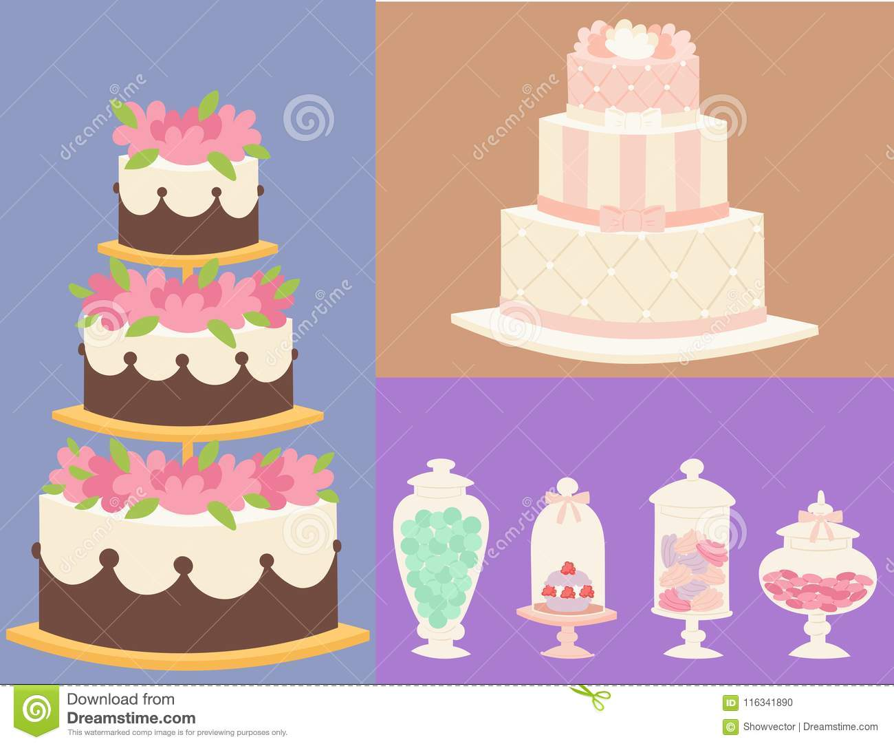 Wedding cakes fresh tasty dessert sweet pastry pie card gourmet homemade delicious cream traditional bakery tart vector