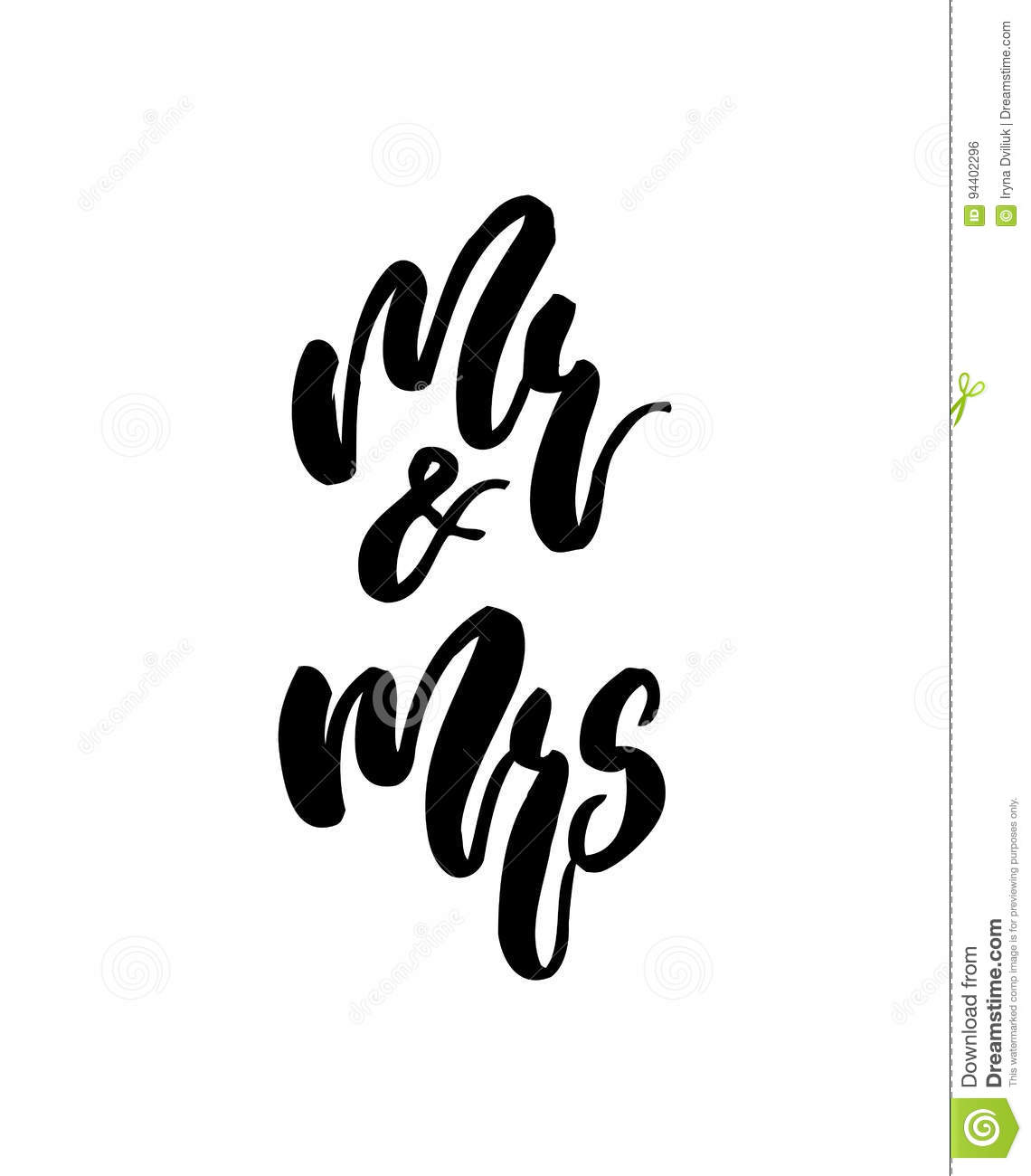 Wedding calligraphy lettering mr and mrs on white isolated