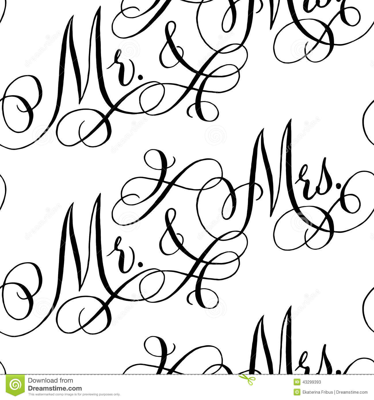 Wedding Calligraphy Seamless Pattern Stock Vector Image