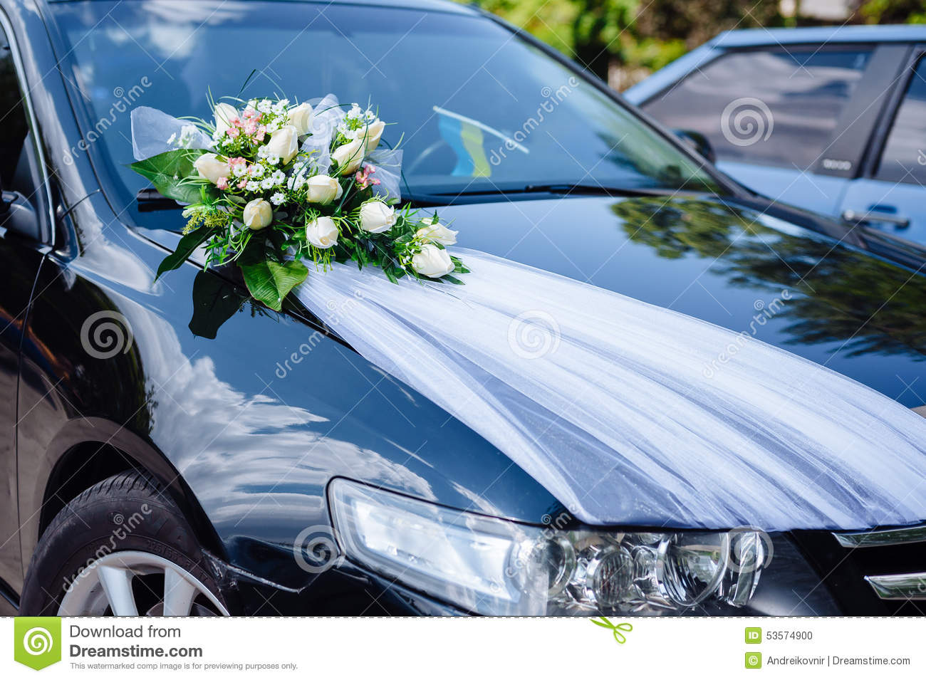 Wedding Car Decor Flowers Bouquet. Car Decoration Stock Photo ...