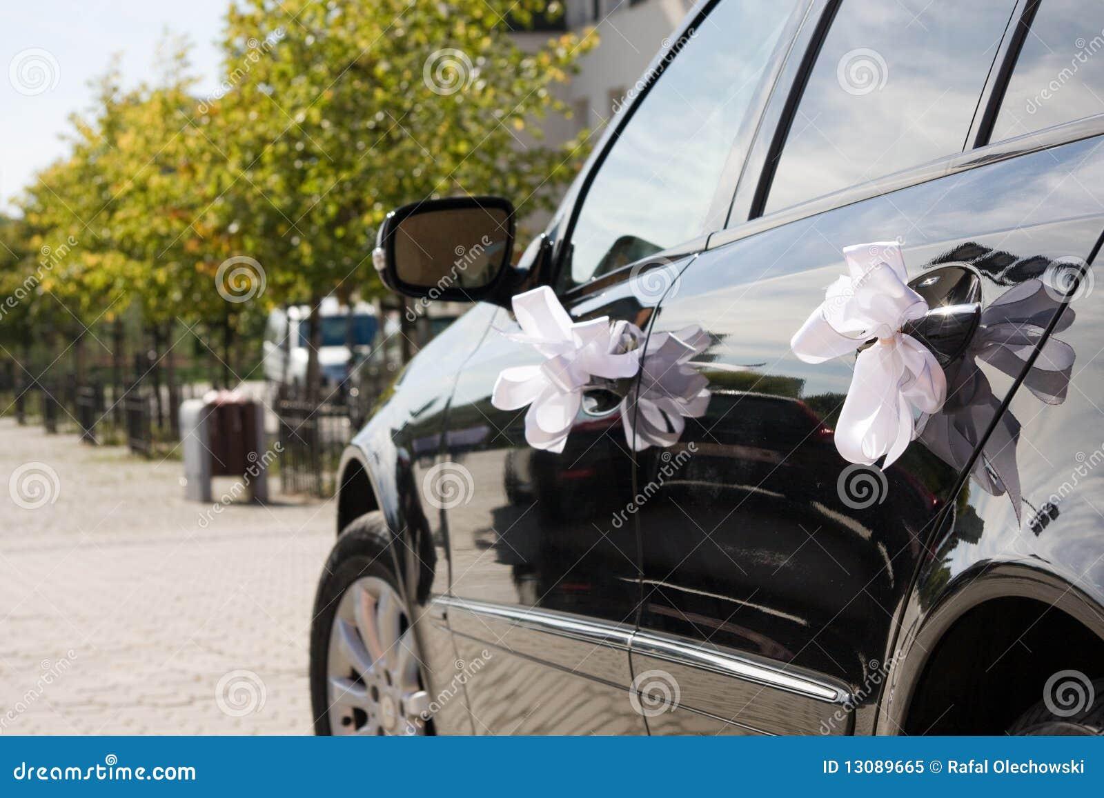 Wedding Car Decorated By Ribbons Stock Image Image Of Celebration