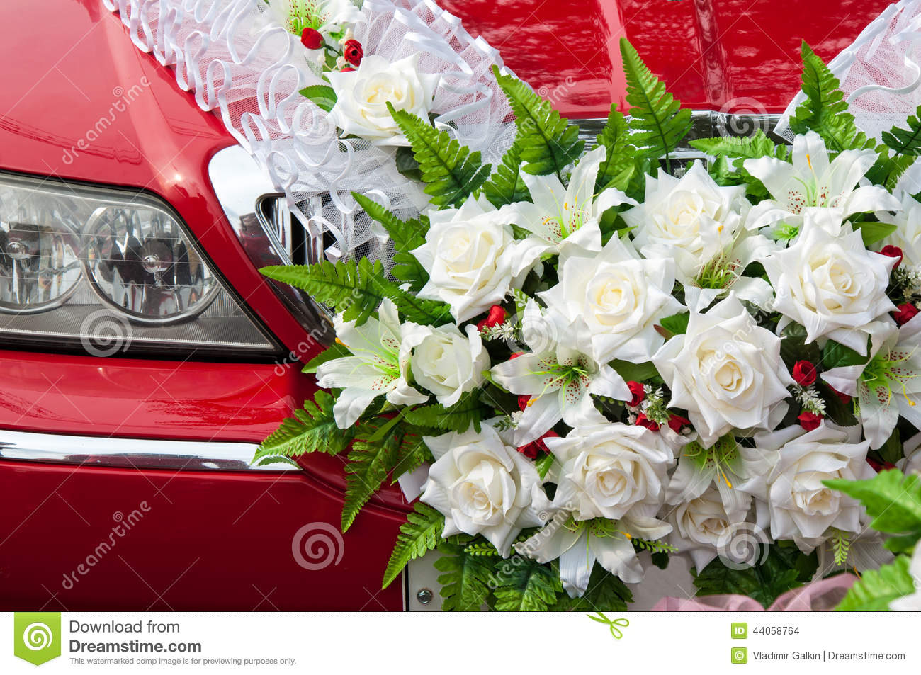 Wedding car decoration stock photo image of modern limo for Automotive decoration