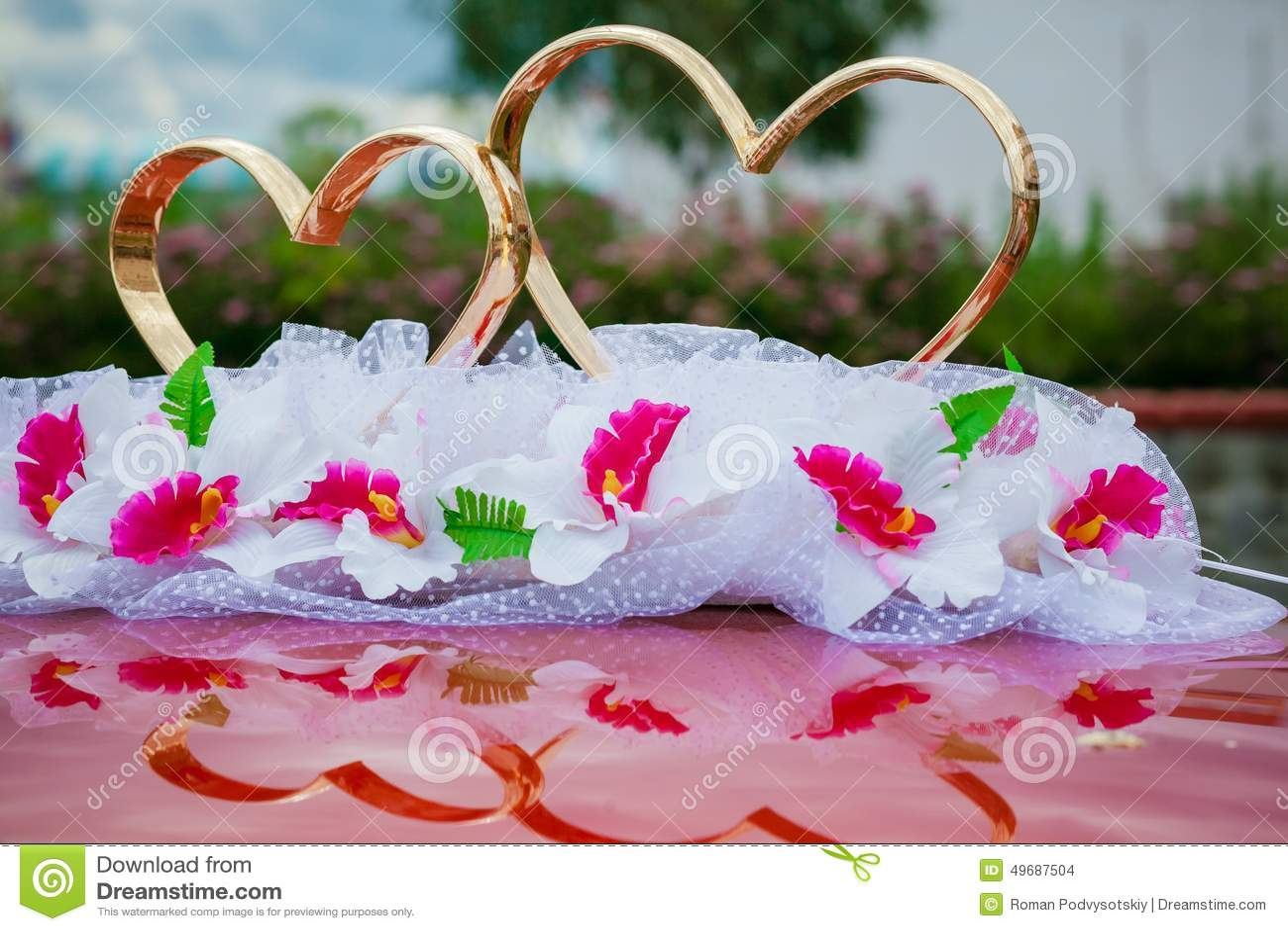 Wedding Car Decorate Wedding Car Decoration Gold Rings Stock Photo Image 49687504
