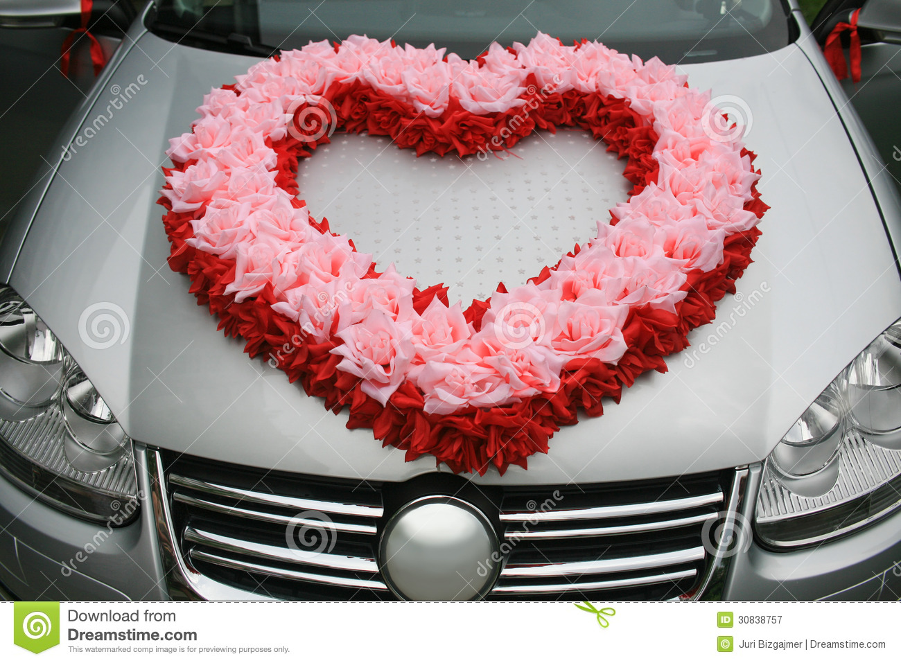 Wedding Car With Heart From Flowers Stock Image - Image of object ...