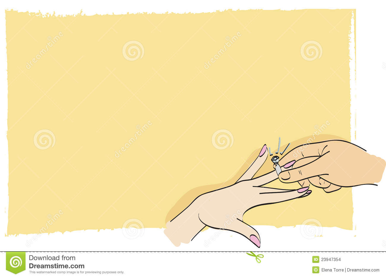 Illustration of groom hand placing wedding ring on finger of his bride ...