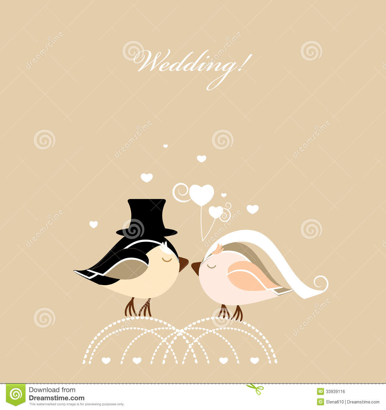 wedding card with birds royalty free stock image image
