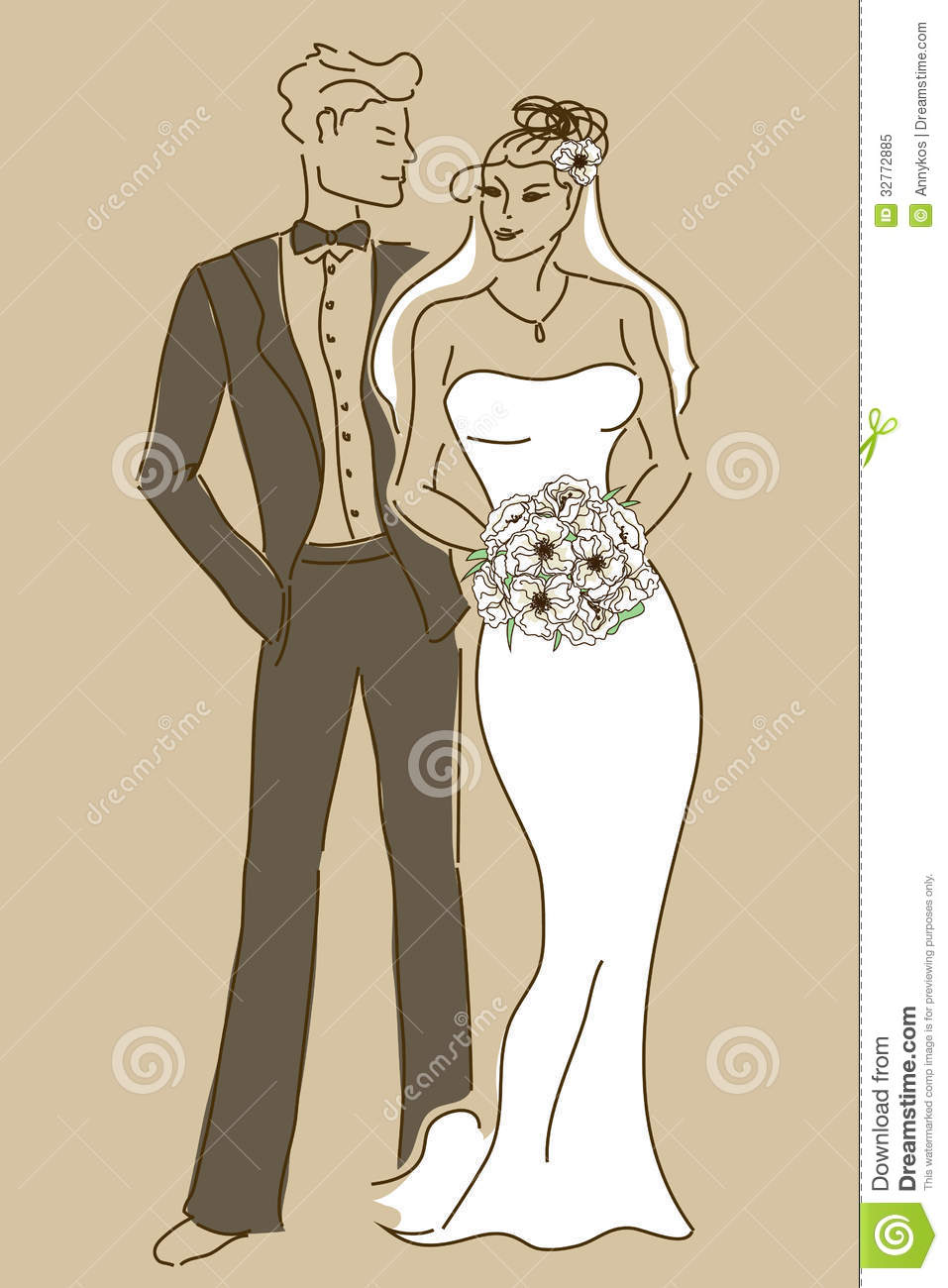 Wedding Card With Bride And Groom Royalty Free Stock Photo