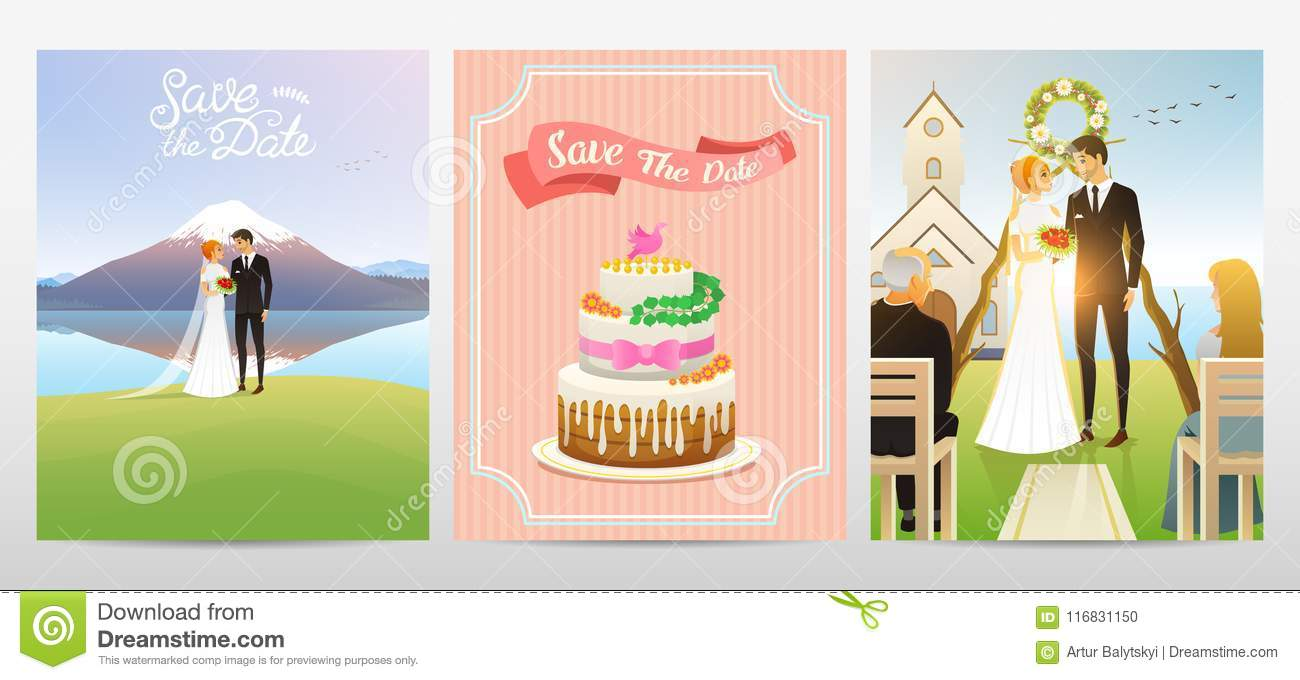 Wedding Card Bride And Groom Valentines Day Newlyweds And Cake