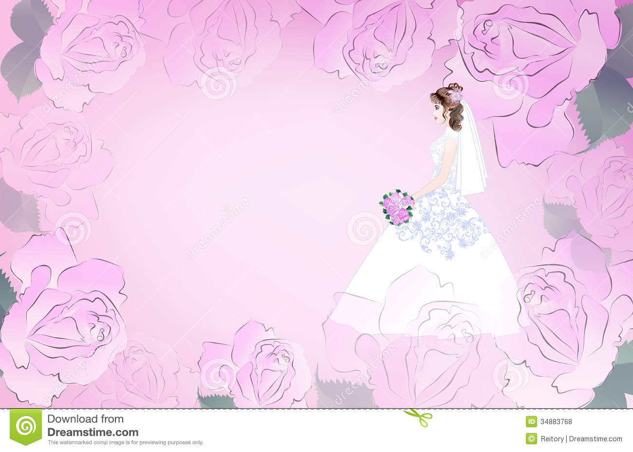 Wedding Card With Bride On A Pink Background Royalty Free Stock Photos ...