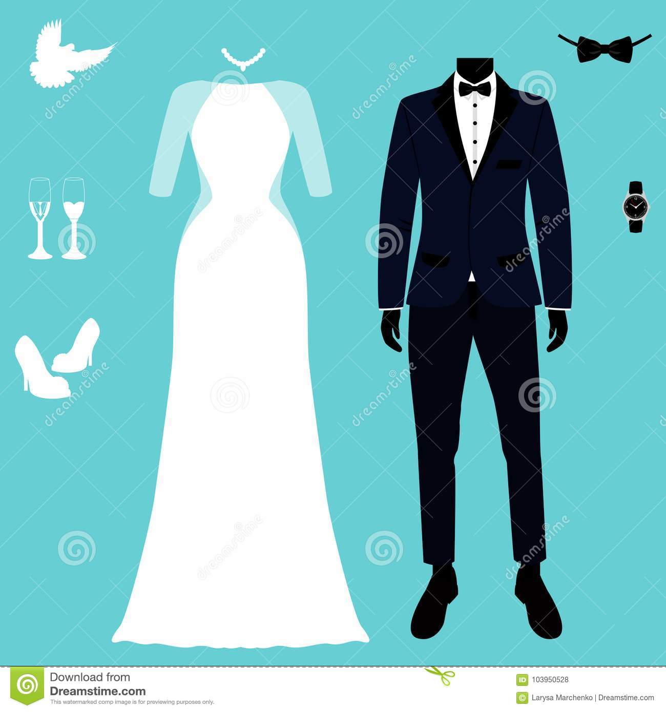 Wedding Card With The Clothes Of The Bride And Groom. Stock Vector ...