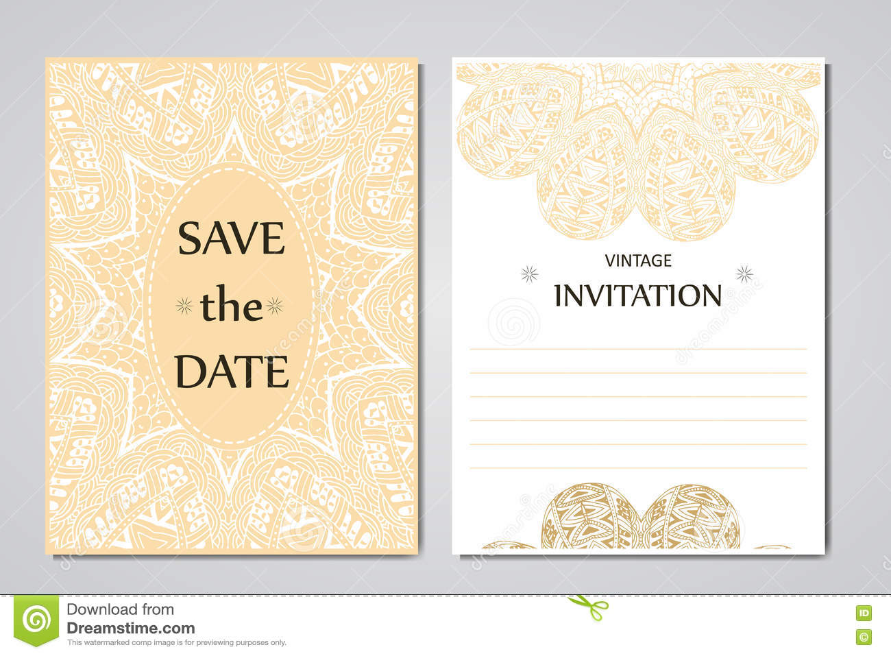 Wedding Card Collection With Mandala Template Of Invitation