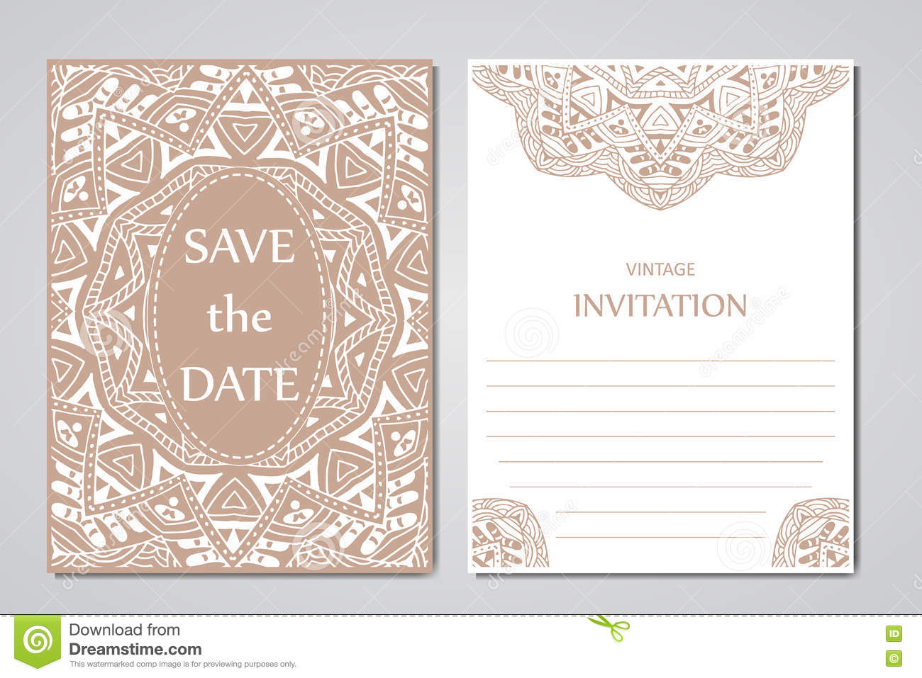 Wedding Card Collection With Mandala. Template Of Invitation Card ...