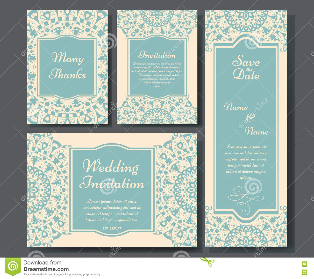 Wedding card collection with mandala template of invitation card wedding card collection with mandala template of invitation card decorative greeting invitaion design with vintage islam arabic stopboris Choice Image
