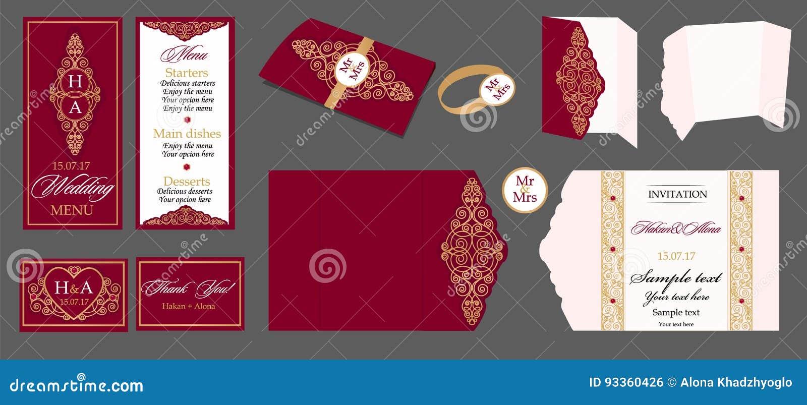 Wedding Card Collection - Menu, Bar Menu, Invitation, Table Cards ...