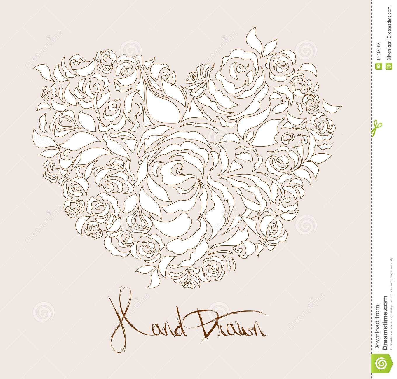 Floral wedding / anniversary card design - heart shaped rose flower ...