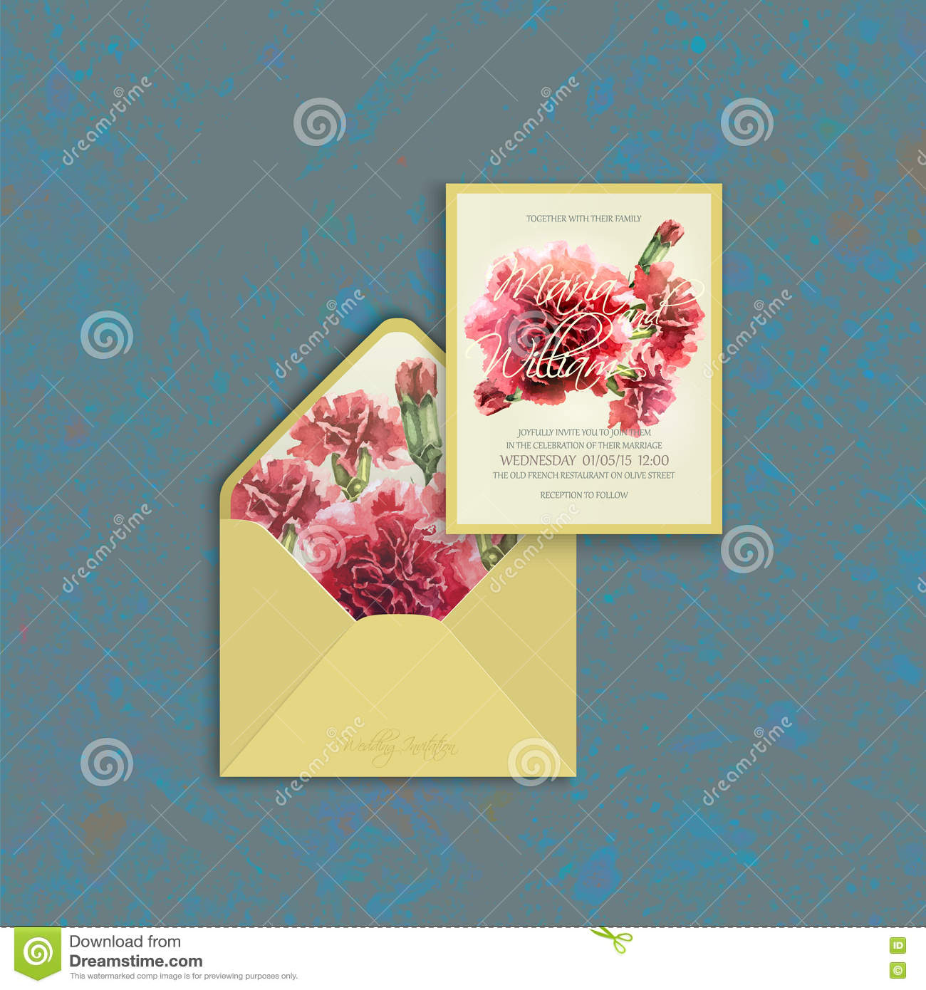 Wedding Card And Envelope Template With Watercolor Carnation – Wedding Card Envelope Template