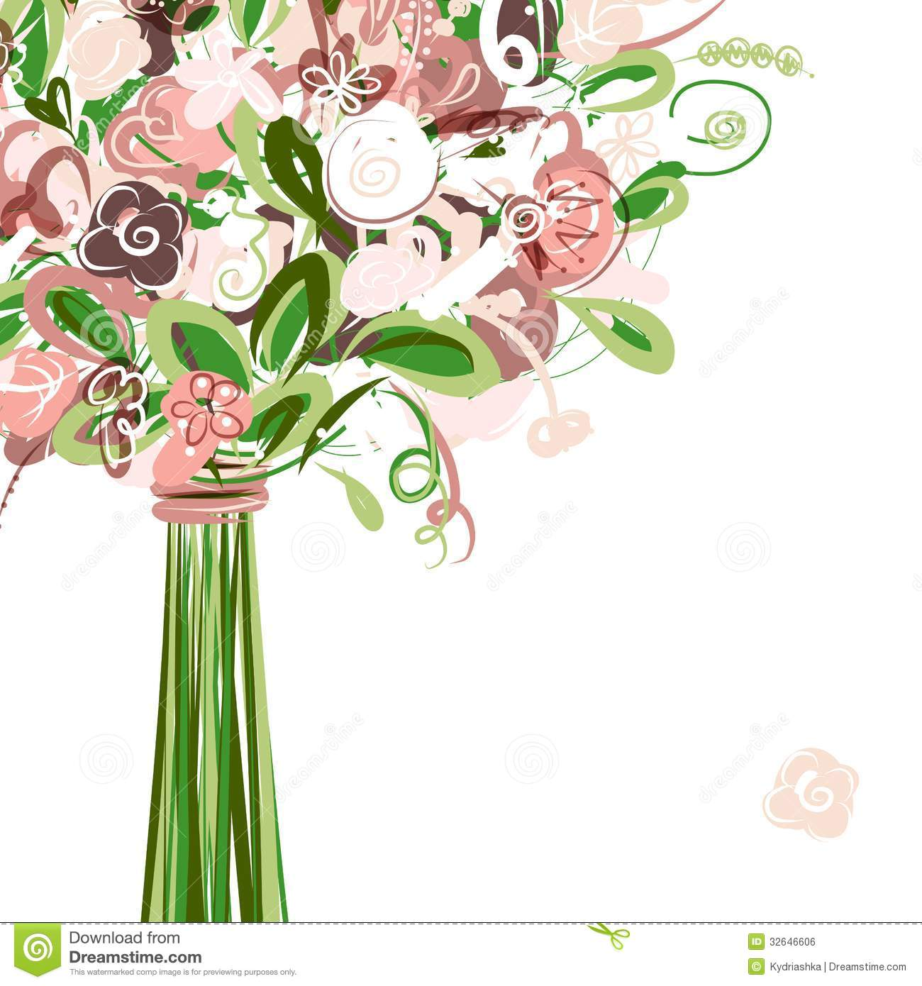 Wedding Card With Floral Bouquet For Your Design Royalty Free Stock