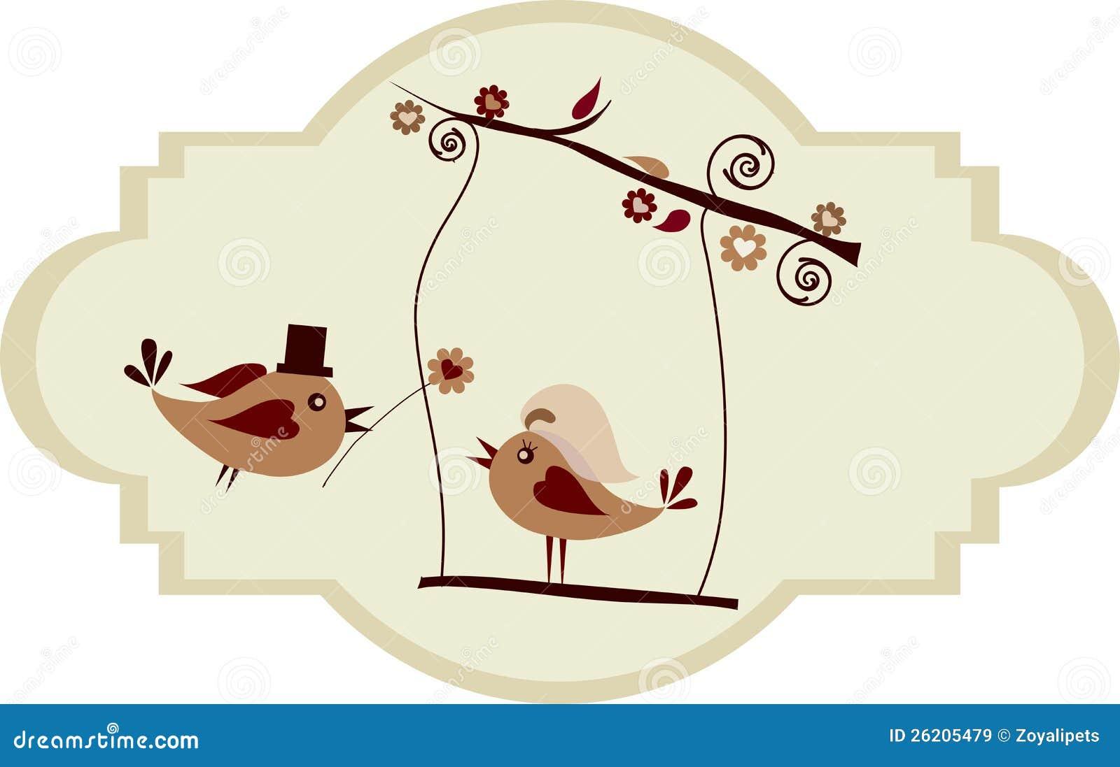 Wedding Card; Groom Bird Giving A Flower Royalty Free ...
