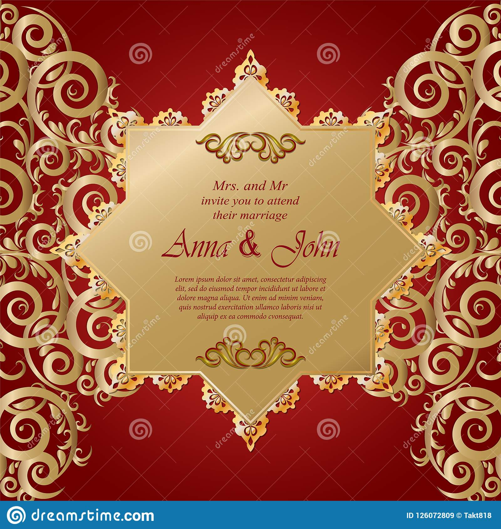 Wedding Card Invitation Card With Ornamental On Red Background