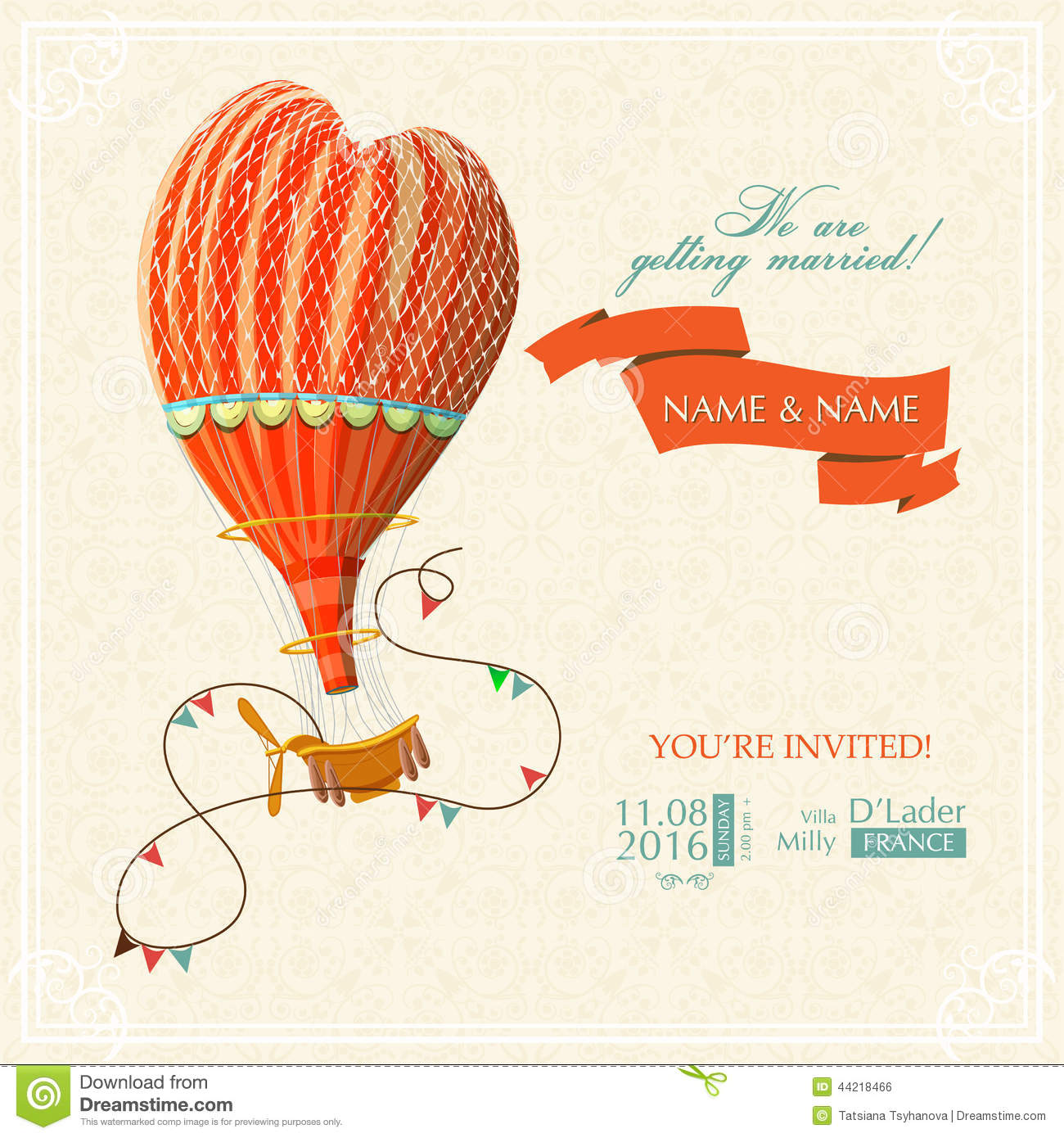 Wedding Card Or Invitation With Hot Air Balloon And Floral Background Stock Vector