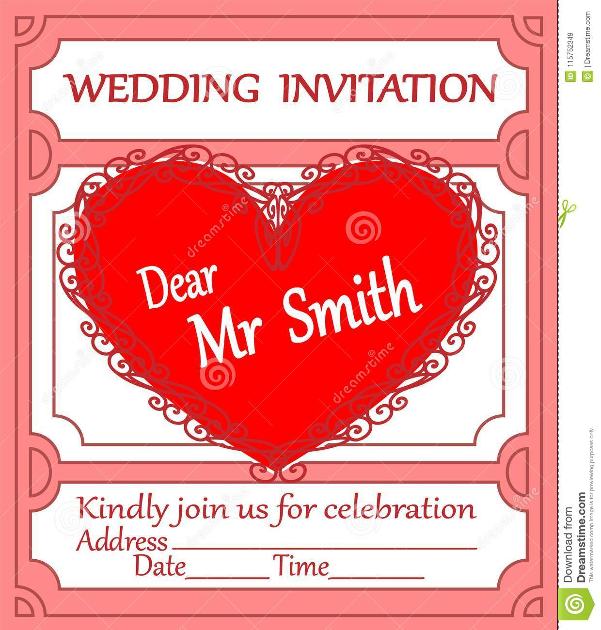 Wedding Card-invitation With Lace Heart Stock Vector - Illustration ...