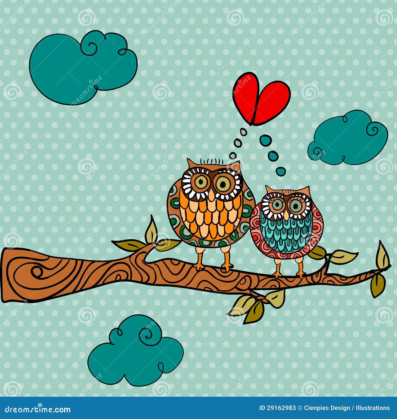 Two Owls On Branch Clip Art Wedding Card Lov...