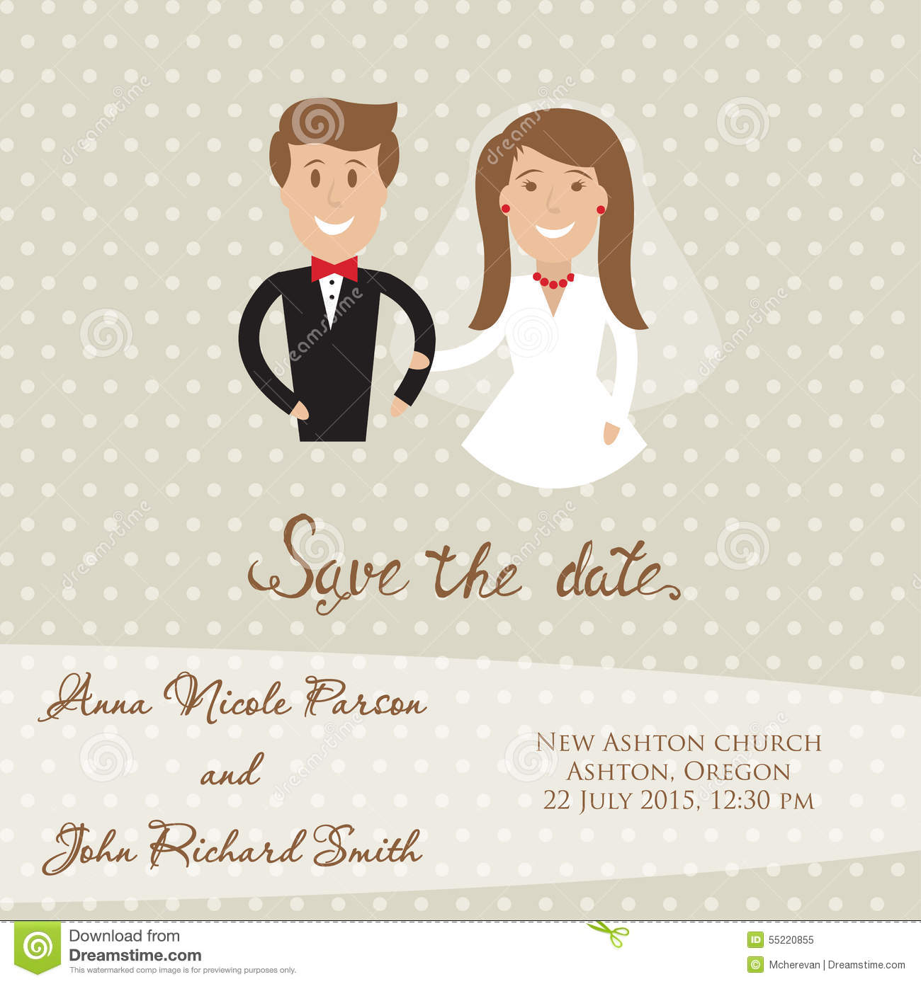Wedding Card With Newly Wed Couple Save The Date Card With Bride