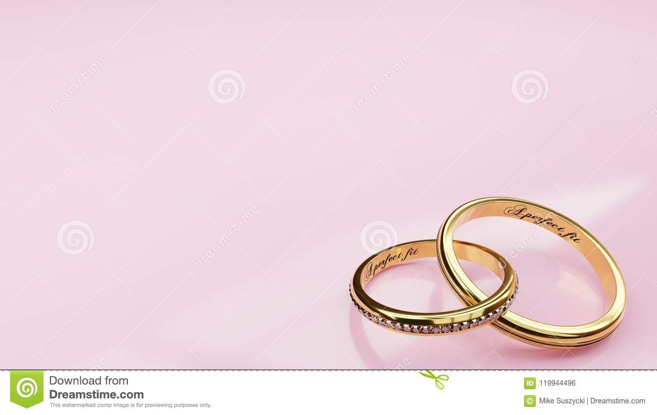 Wedding Card Perfect Fit - Pink Background And Two Golden Rings ...
