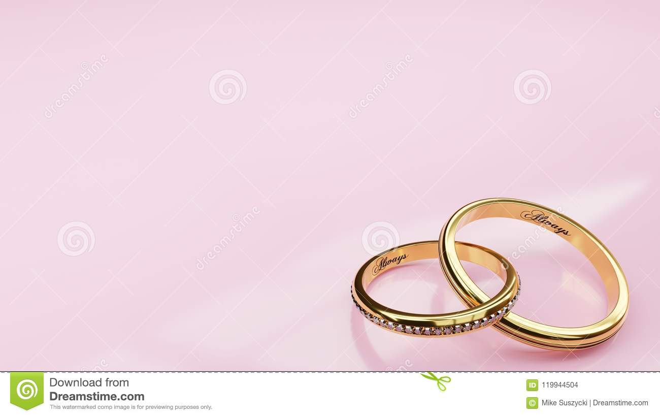 Wedding Card Always - Pink Background And Two Golden Rings Joined ...