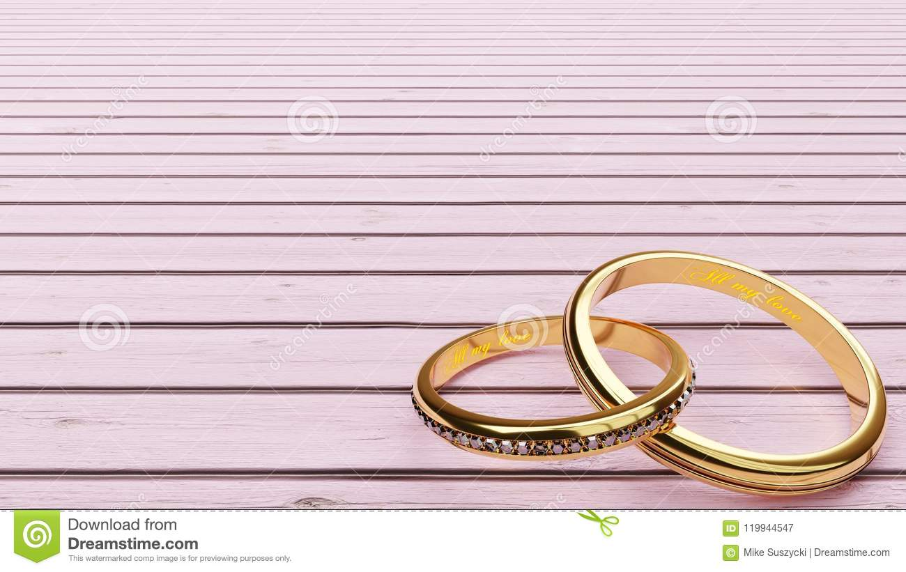 wedding card pink background and two golden rings joined together