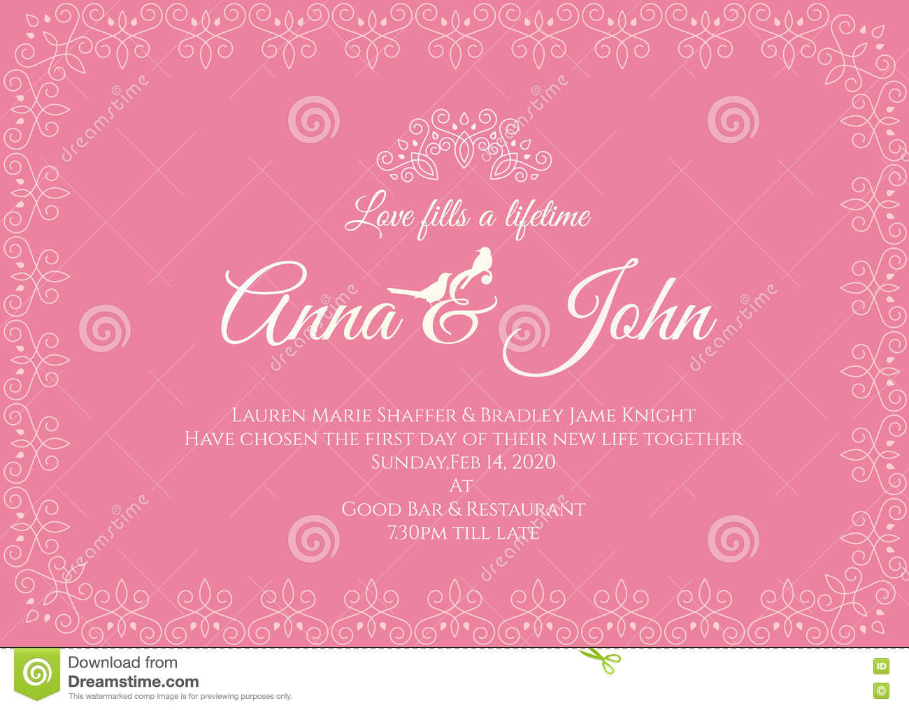 Wedding Card Line Art Designs : Wedding card pink line art frame vector template design