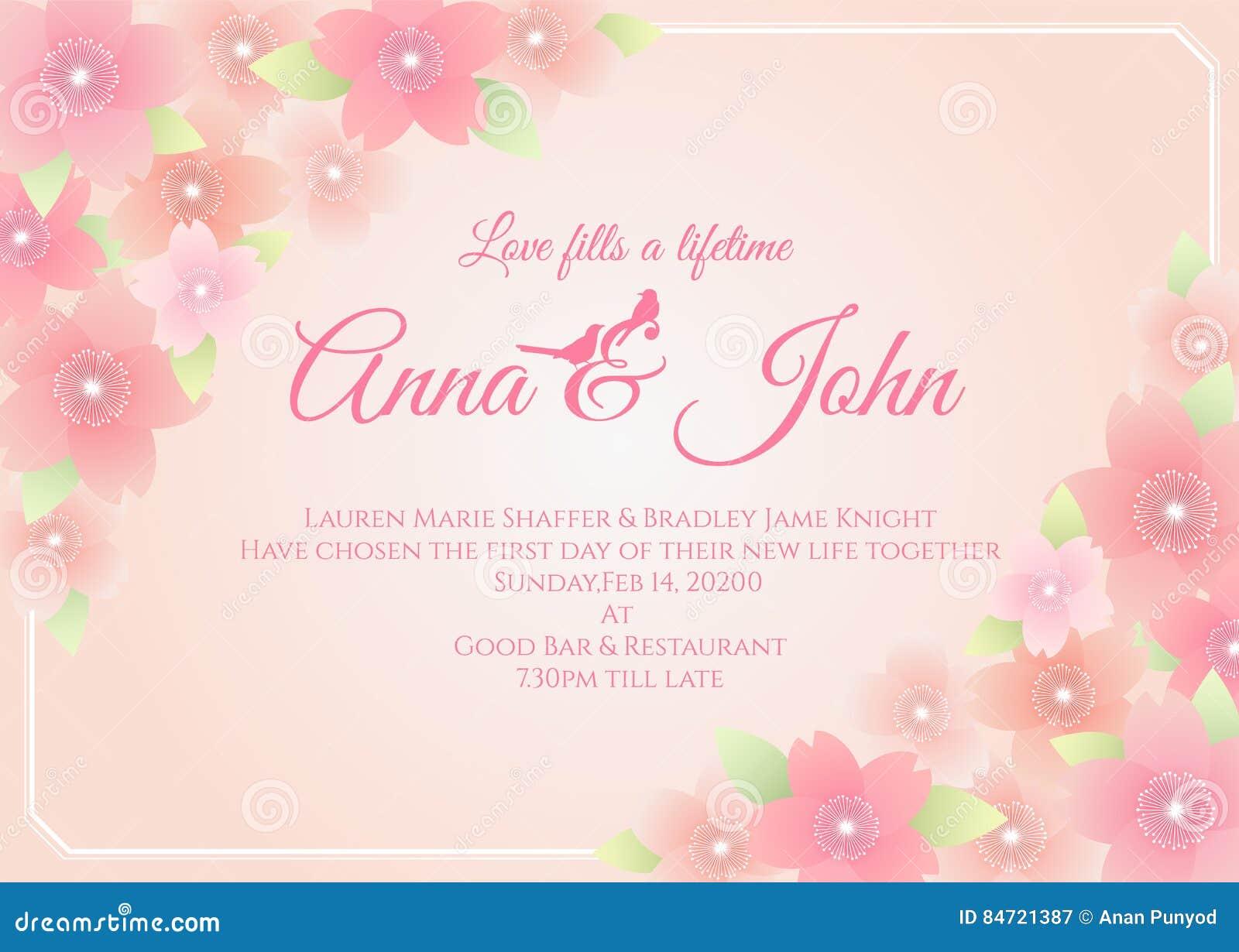 wedding card - sakura flower frame on soft pink background vector