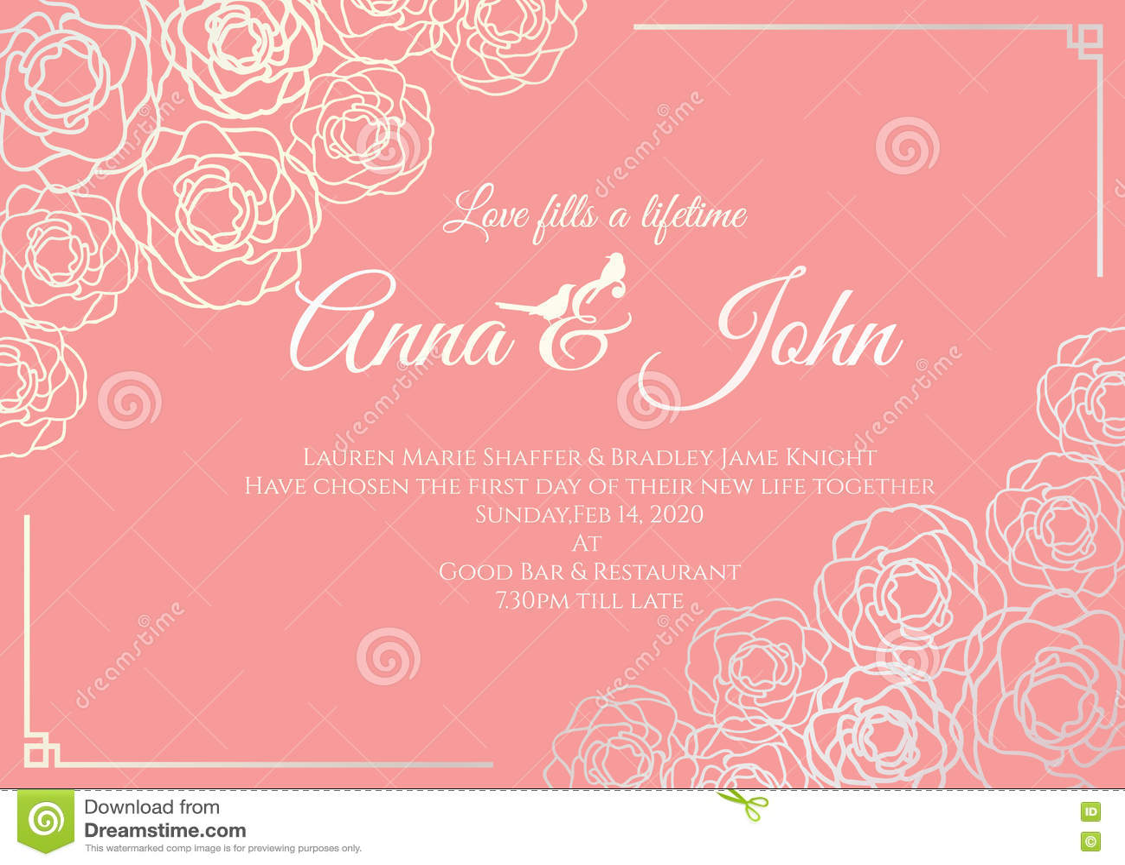 Wedding Card Silver Rose Floral Frame And Old Rose