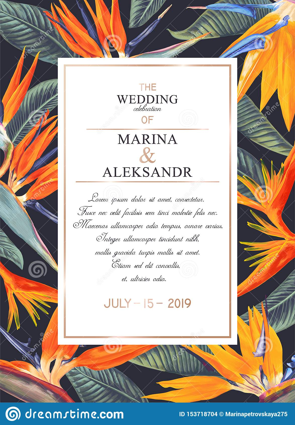 Botanical Wedding Invitation Card Template Design With