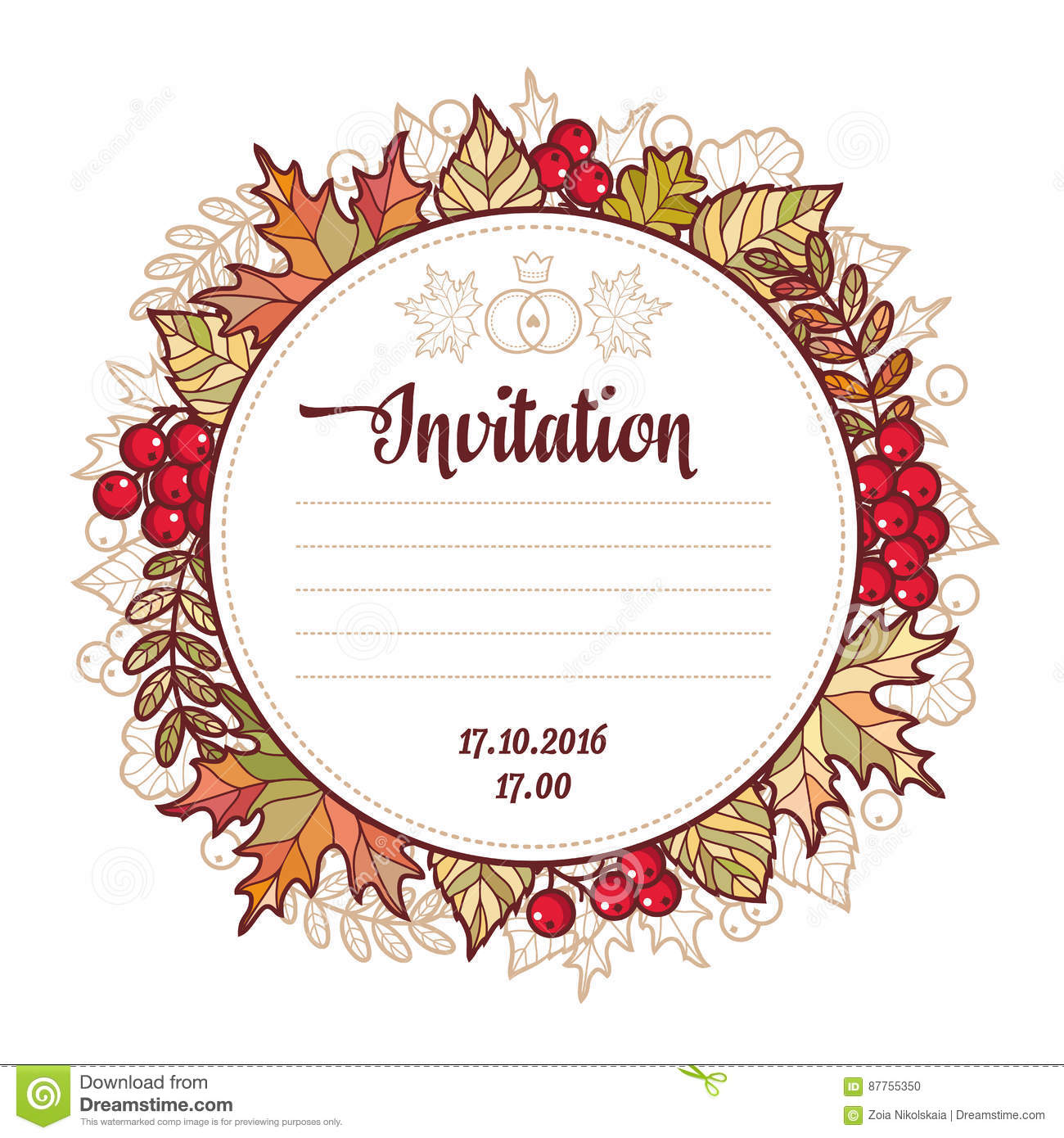 Wedding Card Template Autumn Background Invitation For Marriage
