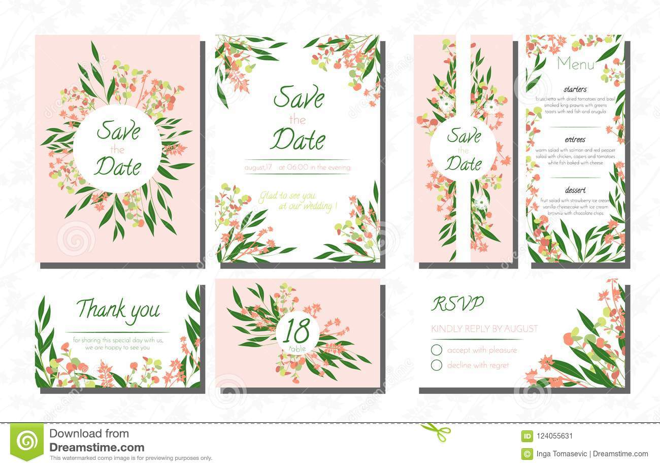 Weddingcardtemplatesseteucalyptus Vectordecorativeinvitationleavesfloralherbsgarland Menursvplabel124055631: Eucalytus Garland Wedding Place Card Templates At Websimilar.org
