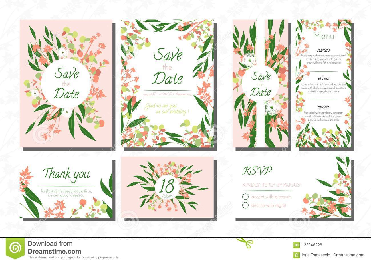 Weddingcardtemplatesseteucalyptus Vectordecorativeinvitationleavesfloralherbsgarland Menursvplabelinvite123346228: Eucalytus Garland Wedding Place Card Templates At Websimilar.org