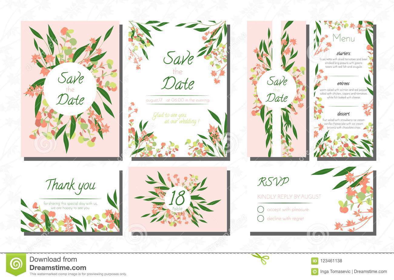 Wedding Invite With Eucalyptus: Eucalytus Garland Wedding Place Card Templates At Websimilar.org