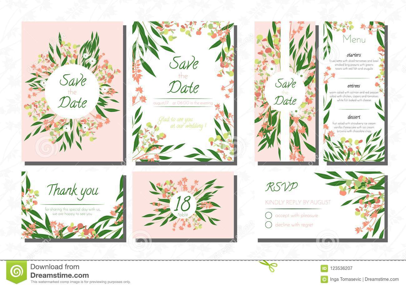 Weddingcardtemplatesseteucalyptus Vectordecorativeinvitationleavesfloralherbsgarland Menursvplabelinvite123536207: Eucalytus Garland Wedding Place Card Templates At Websimilar.org