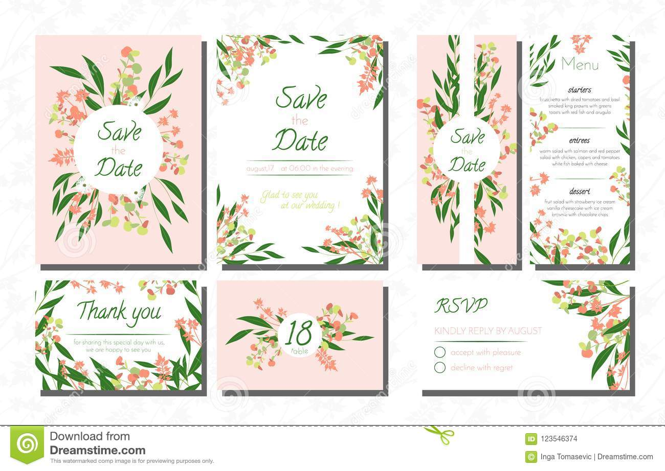 Weddingcardtemplatesseteucalyptus Vectordecorativeinvitationleavesfloralherbsgarland Menursvplabelinvite123546374: Eucalytus Garland Wedding Place Card Templates At Websimilar.org