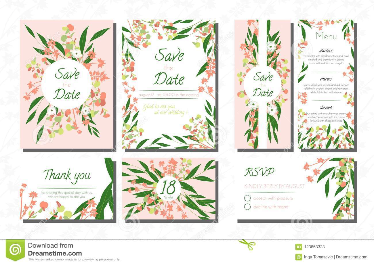 Weddingcardtemplatesseteucalyptus Vectordecorativeinvitationleavesfloralherbsgarland Menursvplabelinvite123863323: Eucalytus Garland Wedding Place Card Templates At Websimilar.org