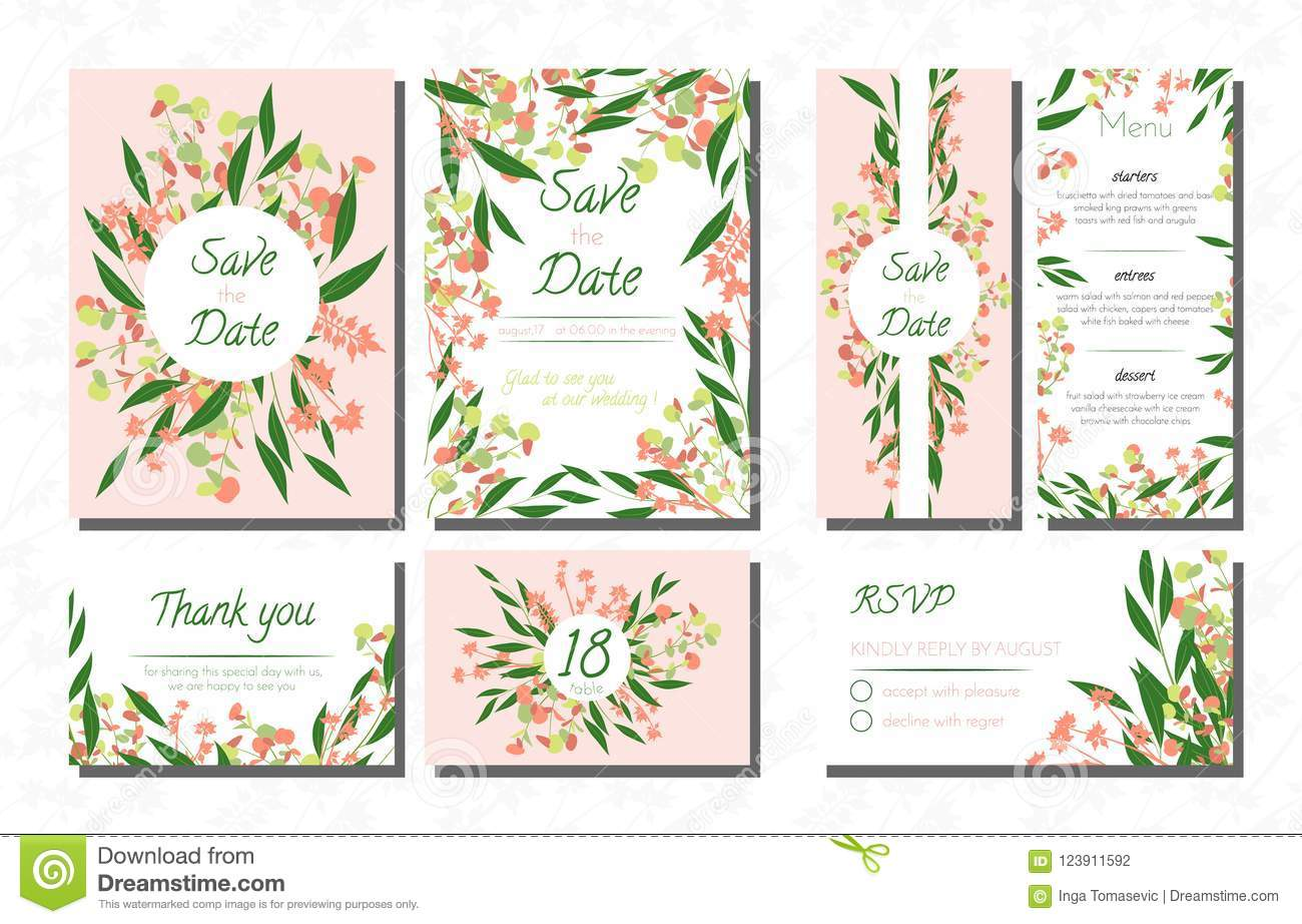 Weddingcardtemplatesseteucalyptus Vectordecorativeinvitationleavesfloralherbsgarland Menursvplabelinvite123911592: Eucalytus Garland Wedding Place Card Templates At Websimilar.org