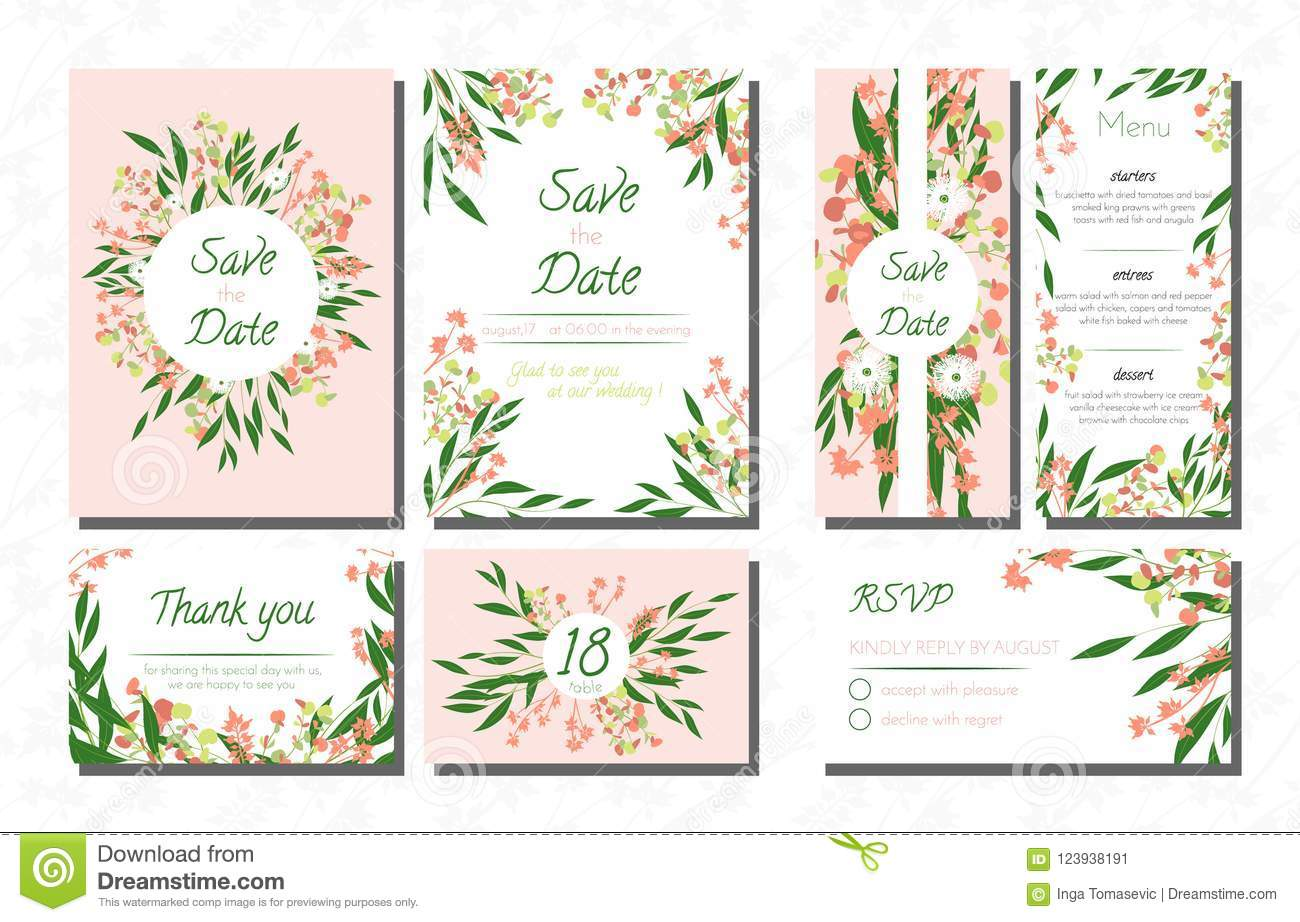 Weddingcardtemplatesseteucalyptus Vectordecorativeinvitationleavesfloralherbsgarland Menursvplabelinvite123938191: Eucalytus Garland Wedding Place Card Templates At Websimilar.org