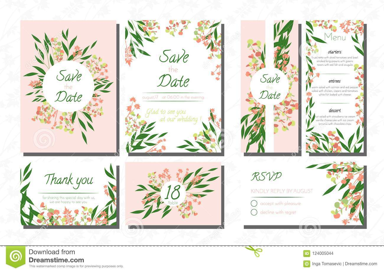 Weddingcardtemplatesseteucalyptus Vectordecorativeinvitationleavesfloralherbsgarland Menursvplabelinvite124005044: Eucalytus Garland Wedding Place Card Templates At Websimilar.org