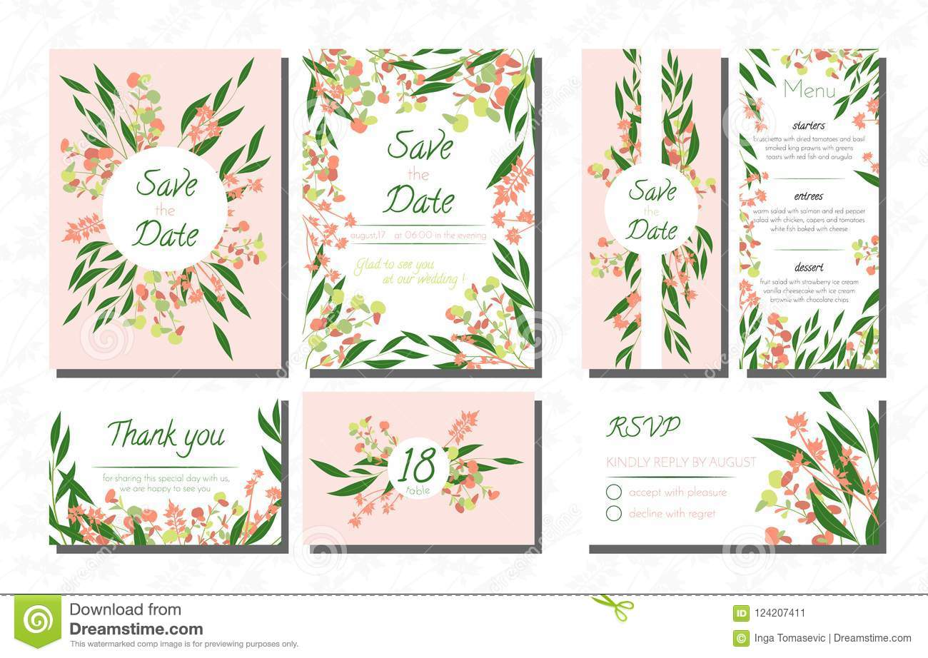 Weddingcardtemplatesseteucalyptus Vectordecorativeinvitationleavesfloralherbsgarland Menursvplabelinvite124207411: Eucalytus Garland Wedding Place Card Templates At Websimilar.org
