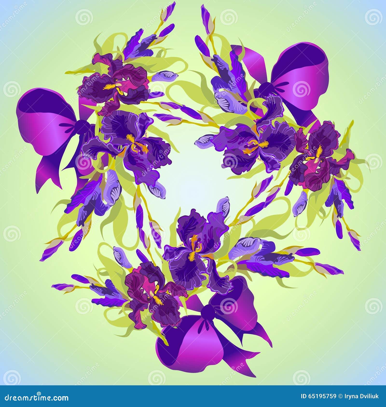 wedding card with violet iris flower wreath background