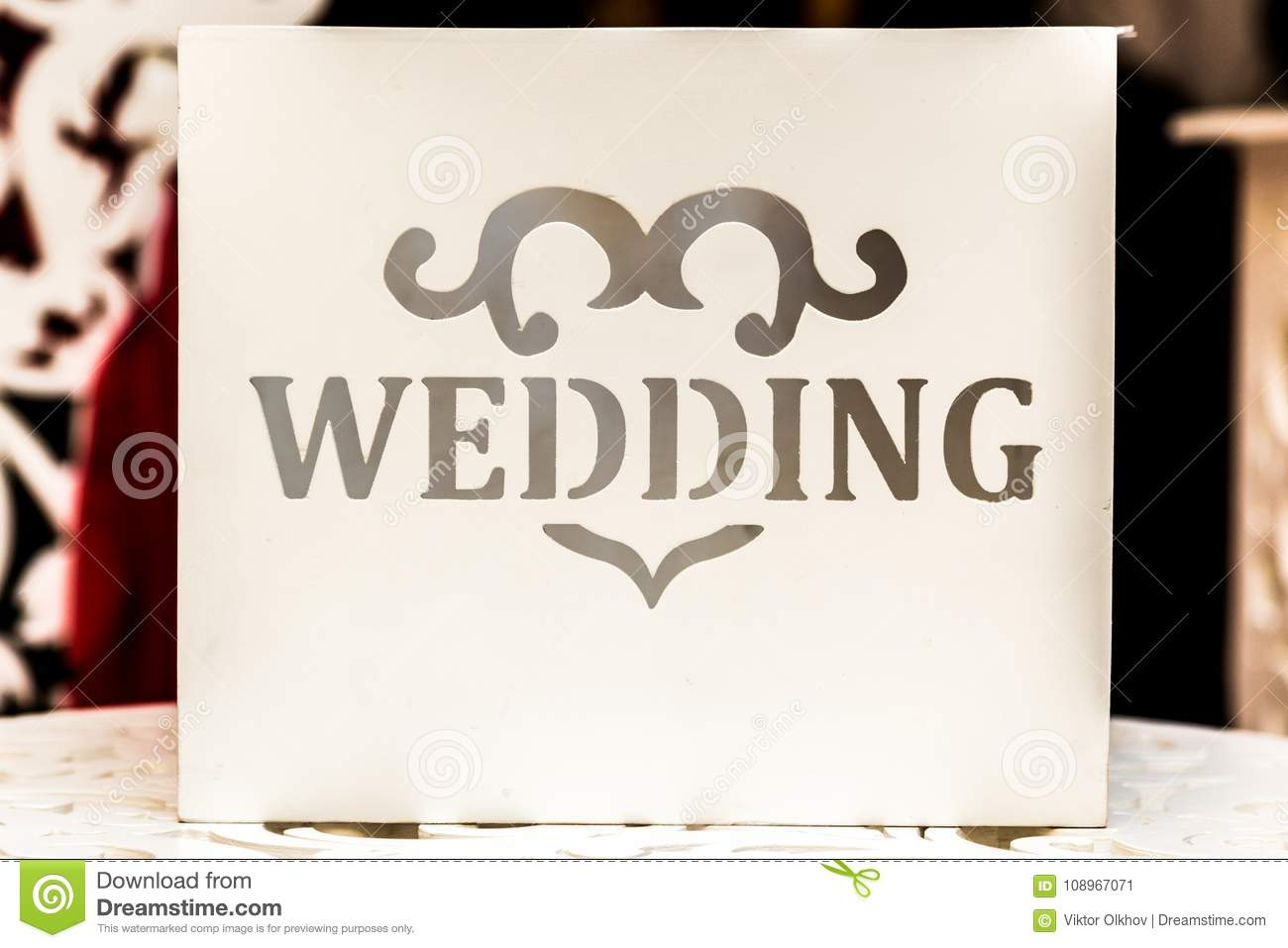 Wedding Card With A Wedding Inscription For Wedding Greetings And