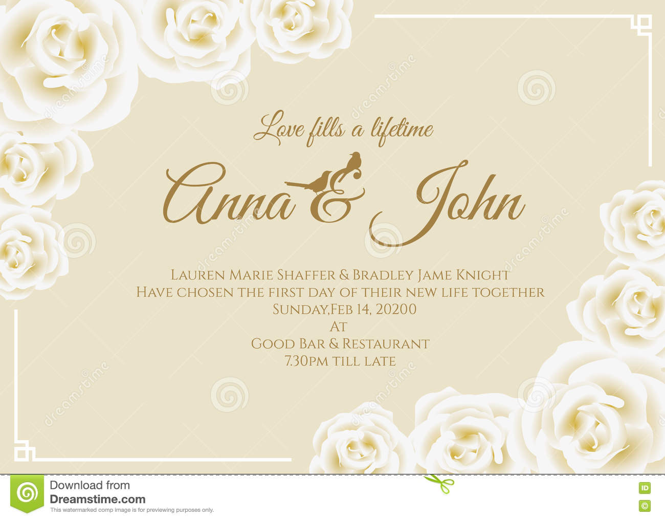 wedding card backgrounds vectors%0A Wedding Card White Rose Floral Frame And Soft Yellow Cream  Wedding card  yellow background