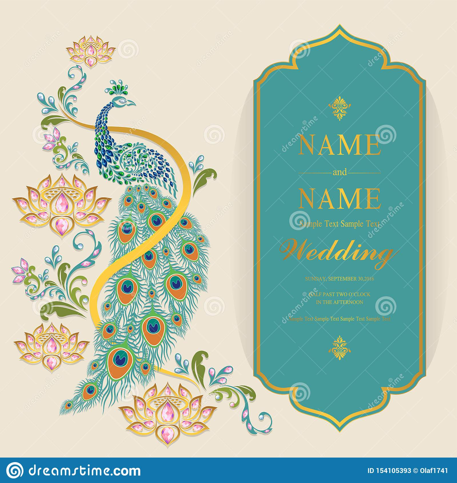 Indian Wedding Invitation Card Templates Stock Vector